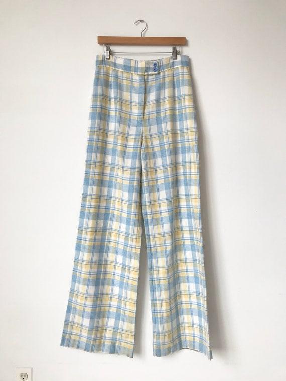 S/M 70s Pastel Plaid Wide Leg Pants - image 3