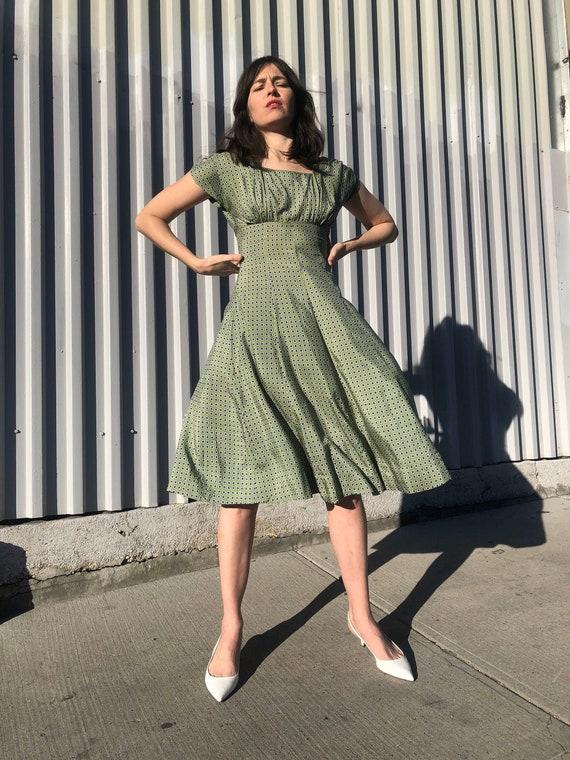 XS 1930s Green Printed Rayon Dress