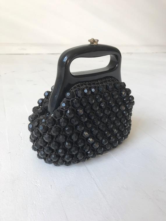 Black Beaded 60s Top Handle Bag - image 4