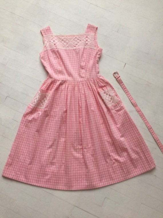 S/M 1950s Pink Gingham + Lace Dress