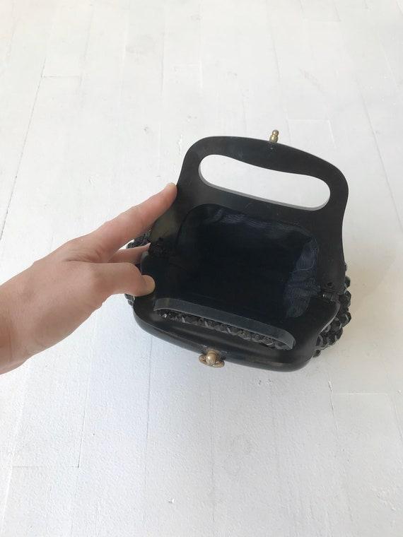 Black Beaded 60s Top Handle Bag - image 8