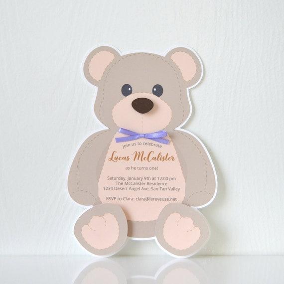 Teddy Bear Invitations Birthday Card Party Invitation Etsy