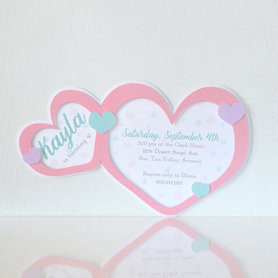 Floating Hearts Invitations Valentine Party Birthday Kids Colorful Love Cards 3D Layered