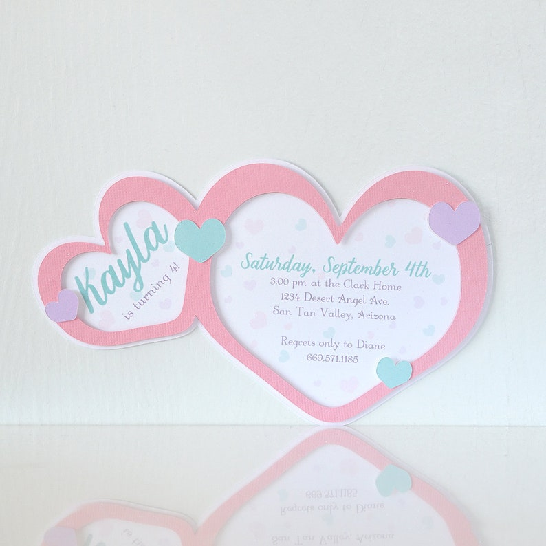 Floating Hearts Invitations Valentine Party Birthday