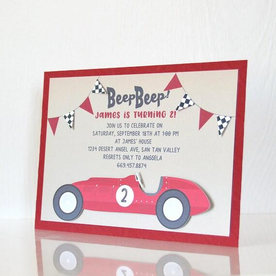 Vintage Race Car Invitation Car Party Boys Birthday Kids Etsy