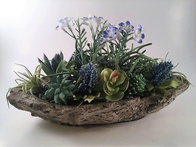 Blue Artificial Floral Arrangement Artificial Succulents