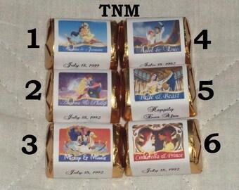 30 Custom Made Disney Wedding Candy Hershey Nugget Labels@Just Peel & Stick