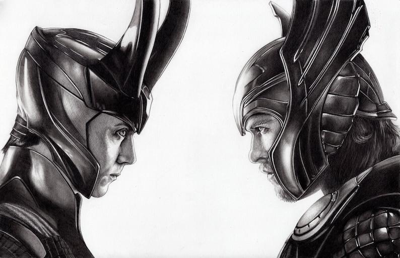 11 X 17 Retrato Dibujo De Thor Y Loki Alta Atención Al Etsy