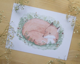 Sleepy Fox - Print - Mini Card