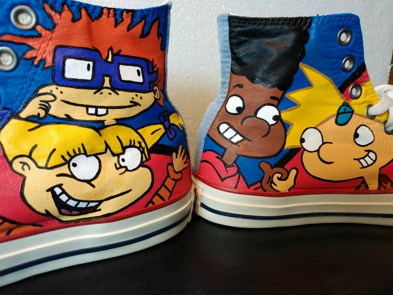 23901e81552f0 Custom Hand Painted - Nickelodeon Ren Stimpy Doug Catdog Rugrats Canvas  Shoes- Converse Chuck Taylor High Tops. Adult Sizes