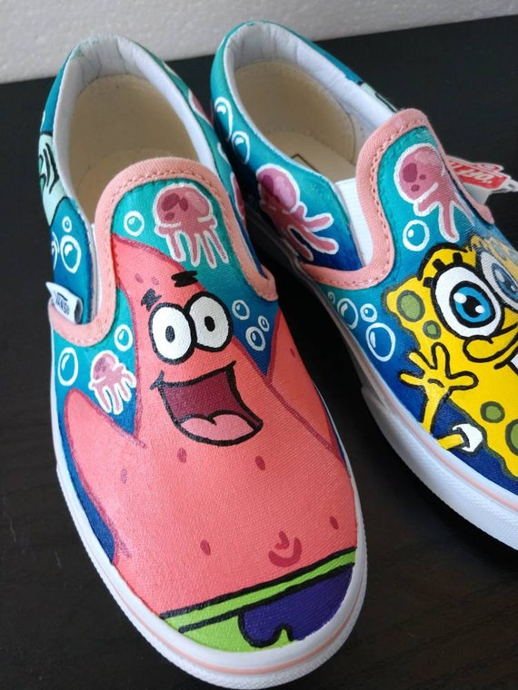 cb5f81c855c18 Custom Hand Painted - Nickelodeon SpongeBob SquarePants Canvas Shoes -  Adult or Kids Sizes