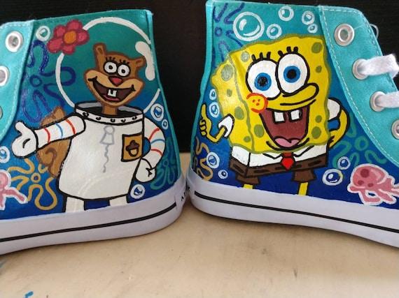 Custom Hand Painted Nickelodeon SpongeBob SquarePants Canvas Shoes Converse Chuck Taylor High Tops. Adult Sizes