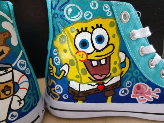 ef2e2f349fba7 Custom Hand Painted - Nickelodeon SpongeBob SquarePants Canvas Shoes-  Converse Chuck Taylor High Tops. Adult Sizes