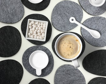 Felt coaster set-Stones,Handmade Drink Coaster Set,Modern Minimalist Coaster Set 4mm,Absorbent Coasters Eco Friendly,Drinkware,Home Decor