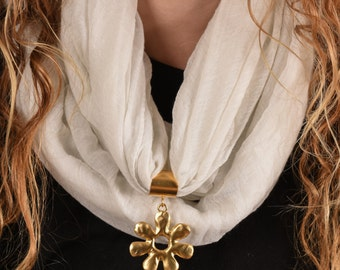 Winter Scarf, White scarf, Scarf Jewelry, Cotton scarf, Scarf Necklace, Fashion Scarf, Trendy Scarf, Scarf Ring, Scarf Bail
