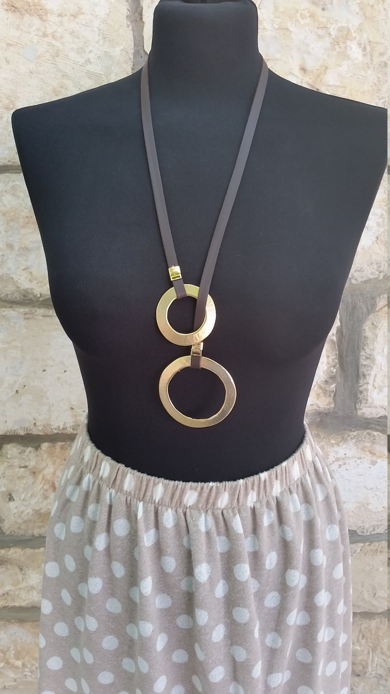 Adjustable Necklace,Round Necklace Vegan Necklace Lariat necklace,Gold metal Pendant Y necklace faux leather Necklace Hammered casting