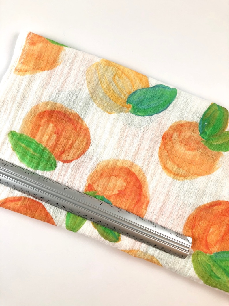infant bedding swaddle girl watercolor Georgia peach Peaches gauze baby blanket Spoonflower fabric