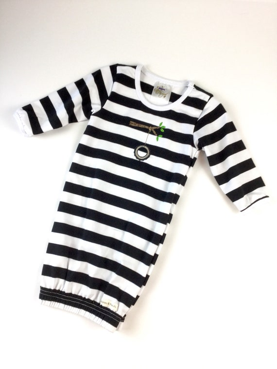 2cc6f11ad531 Uni sex baby gown in black and white stripe with embroidered