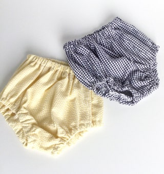 Baby bloomers -diaper covers - seersucker stripe and check - yellow -navy -cake smash -infant -firef birthday -shorts