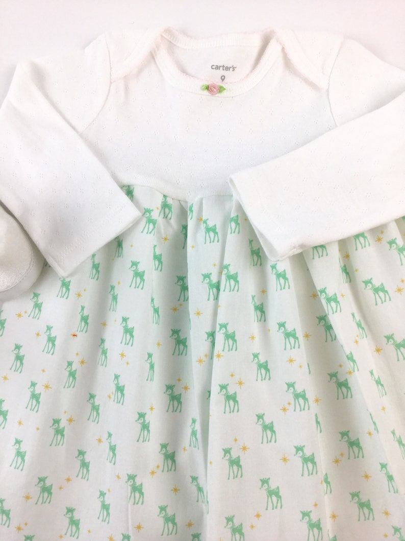 Christmas dress for baby girl size 6 months ready to ship vintage reindeer print white mint green holiday outfit  infant girl moda