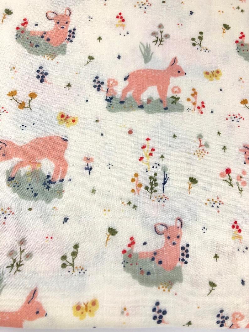 baby shower gift- infant swaddler Japanese double gauze fabric woodland theme deer Baby girl blanket in soft pastels luxury bedding