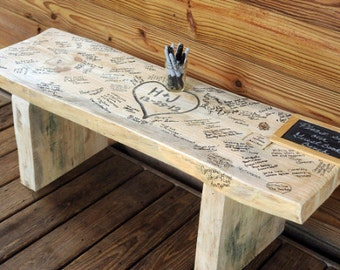 """Small Wedding bench """"Guest Book"""" - 24"""""""