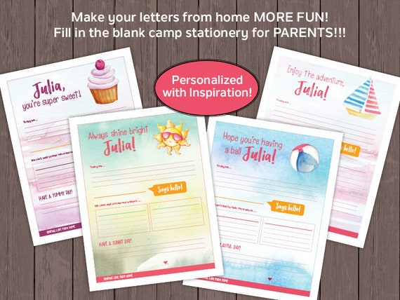 photo relating to Printable Fill in the Blank Camp Letters titled Mom and dad CAMP STATIONERY!!! Electronic Record - Inspirational Themed Camp Letters, Printable at House, Fill In just The Blank Stationery for Moms and dads