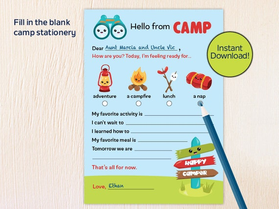 image regarding Printable Fill in the Blank Camp Letters called Camp Stationery for Boys and Females, Quick Obtain!, Fill within just the blank camp playing cards, 5x7 Printable Camp Playing cards, Camp Letter,