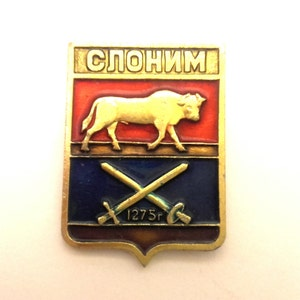 Vintage Badge Town Coat Of Arms Krasnokutsk USSR Collectibles Souvenir Brass Enamel Good Condition #064