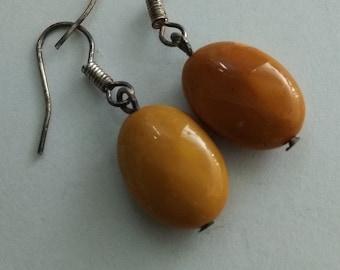 Vintage Woman Beaded Earrings Mustard Yellow Mokaite Genuine Oval  #360