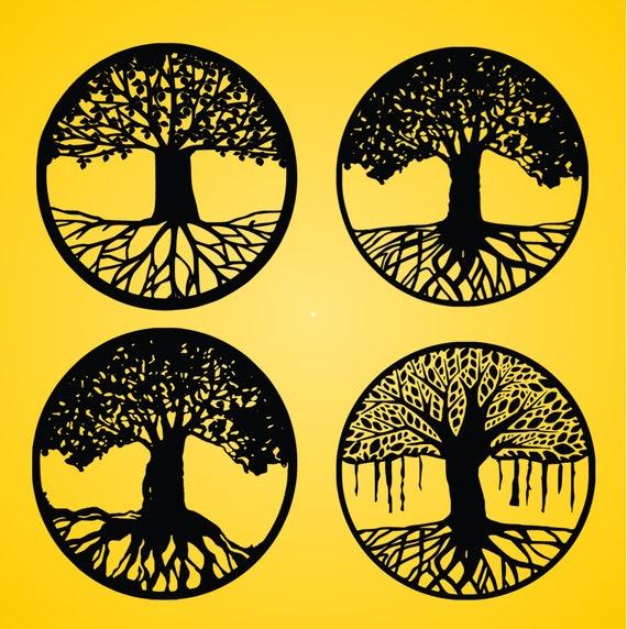 Tatuaż Drzewo Drzewo Wektor życie Drzewo Drzewo życia Sylwetka Drzewo Genealogiczne Svg Dxf Eps Cricut Sylwetka Cameo życie Drzewa Svg
