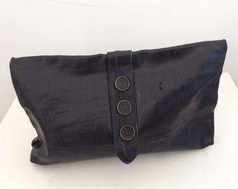 Vintage Pochette, leather pochette, hand bag, 70 bag, vintage bag, leather handbag, boho bag, women's pochette, black handbag