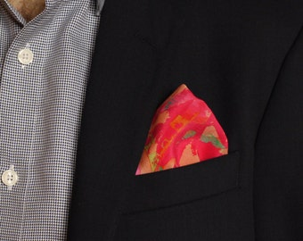 Pink Silk Pocket Square / Pocket Handkerchief / Bridegroom Gift /  Hankerchief / Pocket Scarf / Suit Pocket Square / Silk Handkerchief