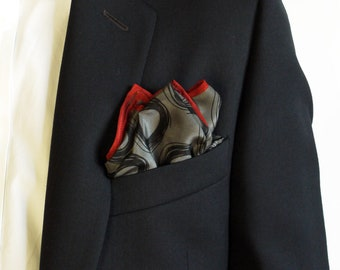Polka Dot Pocket Square / Grey Pocket  Square / Bridegroom Gift /  Hankerchief / Pocket Scarf / Suit Pocket Square / Silk Handkerchief
