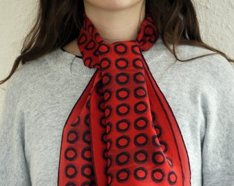 red silk scarf / scarves for women / small rectangular scarf / unusual scarf / silk scarf women