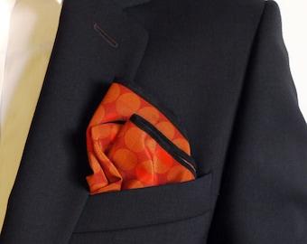 Polka Dot Pocket Square / Orange Pocket  Square / Bridegroom Gift /  Hankerchief / Pocket Scarf / Suit Pocket Square / Silk Handkerchief