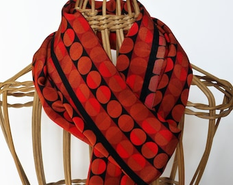 Orange Polka Dot Bandana / Narrow Silk Scarf / Orange Silk Scarf / Funky Silk Scarf / Gift For Her
