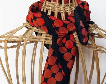Polka Dot Bandana / Small Silk Scarf / Orange Silk Bandana / Funky Scarf / Gift For Her