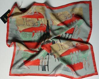 Red Silk Bandana / Small Silk Scarf / Grey Silk Scarf / Funky Scarf / Gift For Her