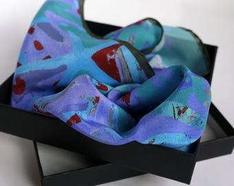 Turquoise Silk Pocket Square / Pocket Handkerchief / Bridegroom Gift /  Blue Handkerchief / Pocket Scarf / Suit Pocket Square