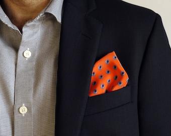 Orange Silk Pocket Square / Pocket Handkerchief / Bridegroom Gift /  Hankerchief / Pocket Scarf / Suit Pocket Square / Silk Handkerchief