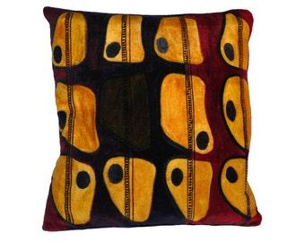 yellow velvet cushion / contemporary cushion / designer pillow / abstract pillow / artistic cushion