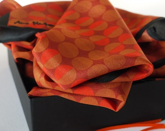 Polka Dot Scarf / Narrow Silk Scarf / Orange Silk Scarf / Funky Scarf / Gift For Her