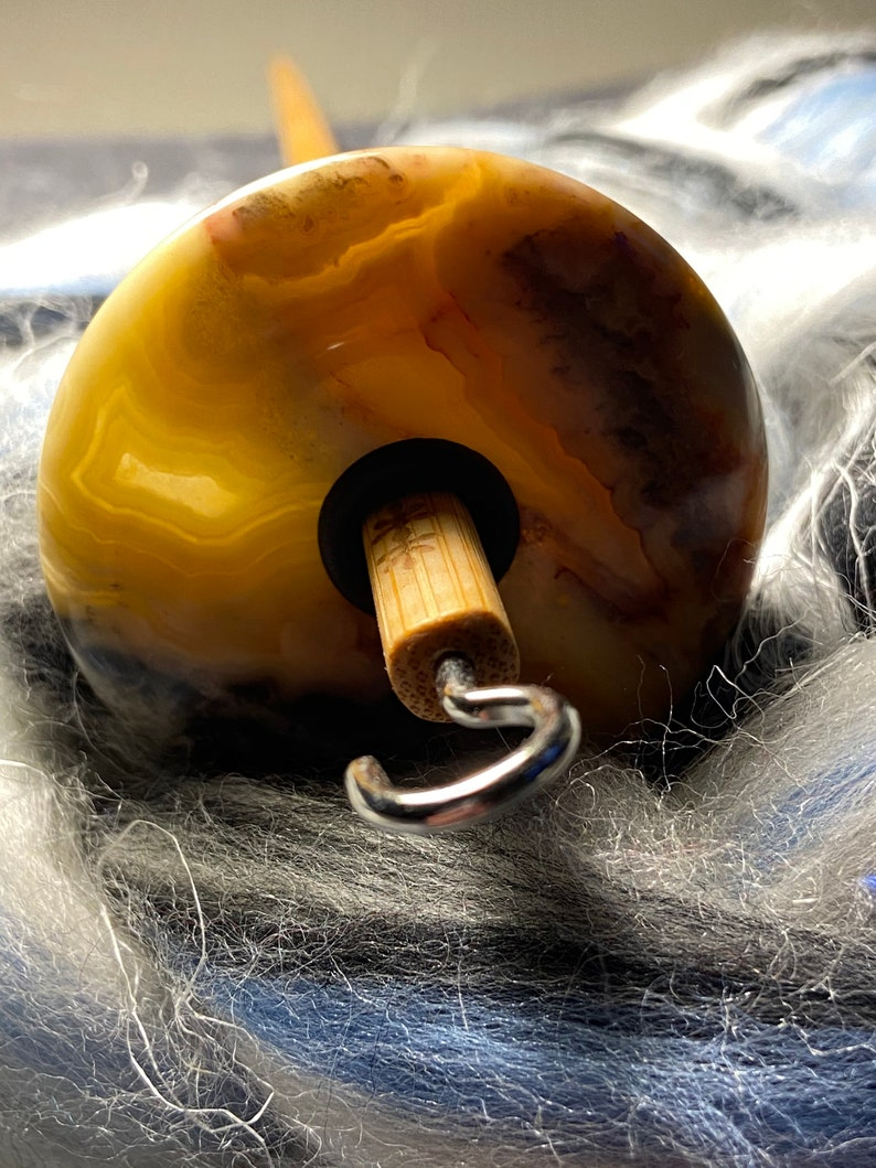 Top Whorl Crazy Lace Agate Drop Spindle