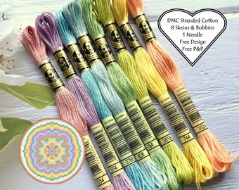 DMC Stranded Cotton // 8 Skeins Pastel Rainbow //DMC Threads // Cross Stitch Floss // Embroidery Threads // Free Pattern // Starter Pack