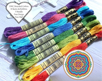 DMC Stranded Cotton / 8 x Skeins Rainbow Shades / DMC Threads Rainbow Bundle / Cross Stitch Floss / Embroidery Threads / Free Pattern /