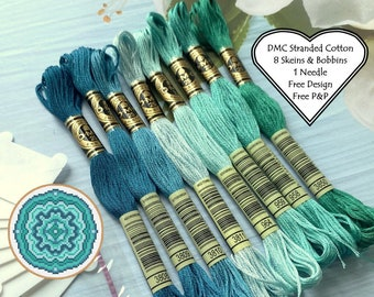 DMC Stranded Cotton // 8 Skeins Sea Green Blue // DMC Threads // Cross Stitch Floss // Embroidery Threads // Free Pattern // Starter Pack
