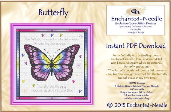 Butterfly Decor Rainbow Cross Stitch Colour Pdf Dmc Chart