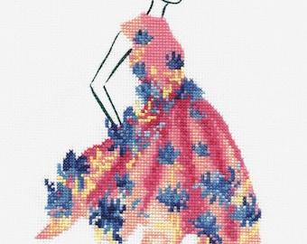 DMC Fashion Cross Stitch Kit // Fashion Style // Complete Cross Stitch // Pink Party Cross Stitch // Fashion Illustration // Fashion Kits