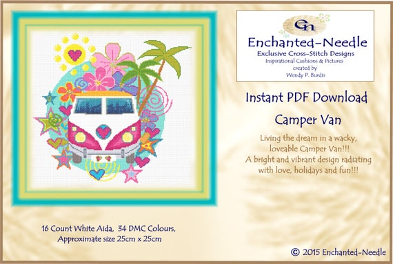 Camper Van Cross Stitch Colour Pdf Dmc Chart Cross Stitch Etsy